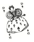Carte à jouer dame de trèfle Jean Boggio