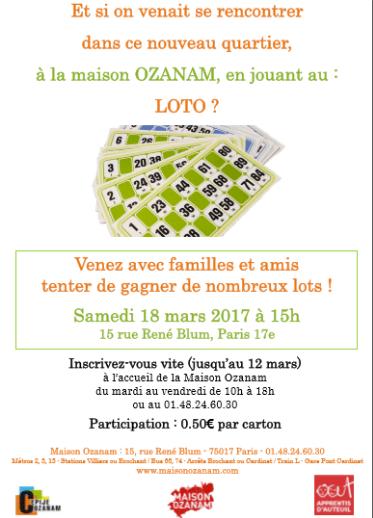 Publicité pour loto mars 2017