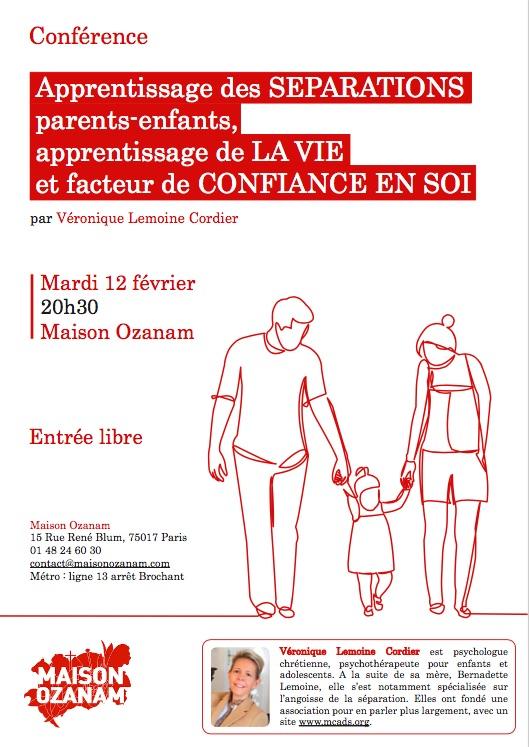 Conférence : apprentissage des séparations @ Maison Ozanam