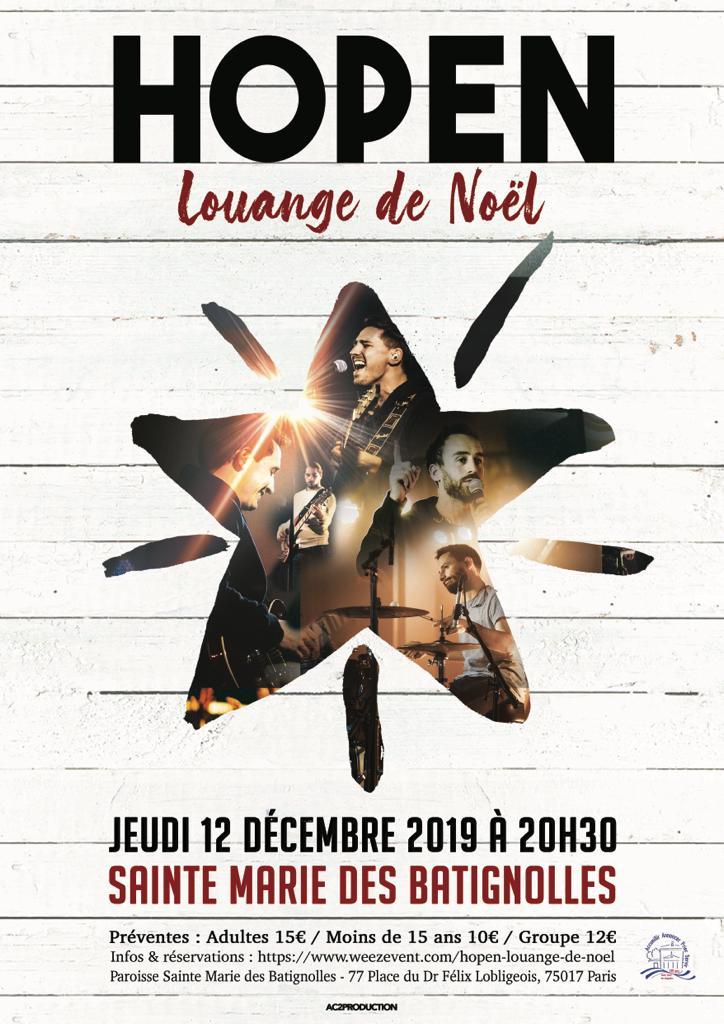 Affiche du concert Hopen 12 décembre 2019