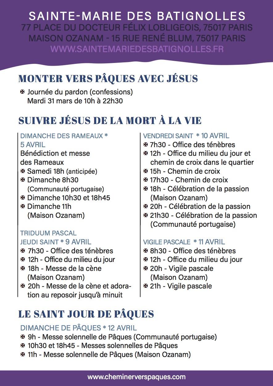 Programme du Carême 2020