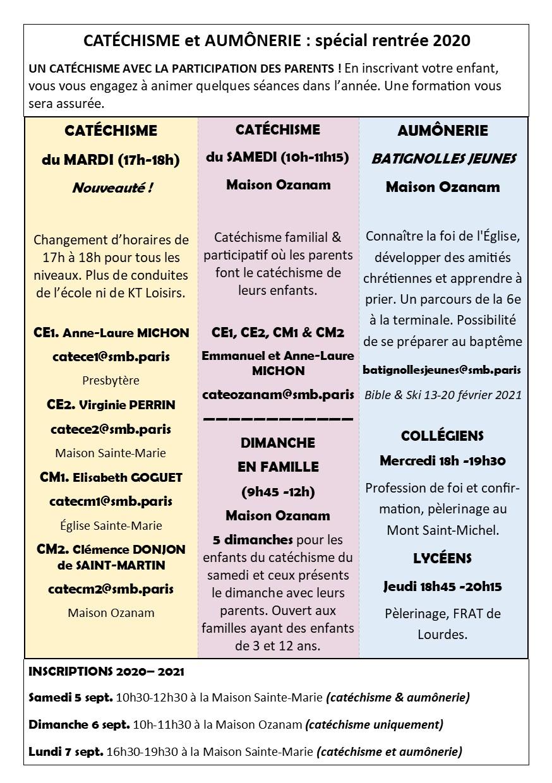 Informations sur catéchisme et aumônerie